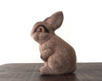 Vintage Flocked Bunny Rabbit Bank, Mid Century Easter Decoration, Child's Toy Coin Bank