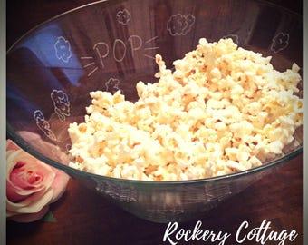 Popcorn bowl, large bowl, glass bowl, engraved bowl, decorative bowl, personalised popcorn, custom popcorn, hand engraved glass, valentines