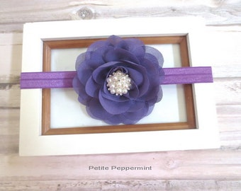 Purple baby headband, baby girl headband, newborn headband,purple baby hair bow, infant headband, baby headband flower, purple girl hair bow
