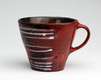 Small Red Mug with White Stripes