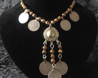 Tribal, tribal fusion belly dance, boho, gypsy, handmade, beaded necklace,.