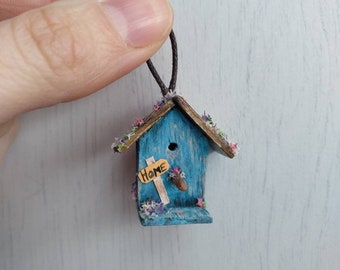 Miniature Spring bird house for doll houses