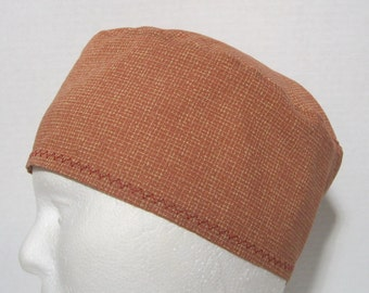 Unisex Scrub Hat in Cinnamon Brown and Tan Plaid