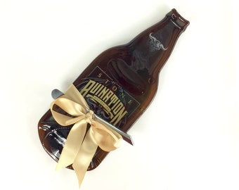 Large Stone Ruination 2.0 Beer Melted Bottle Cheese Tray (Large) - Upcycled / Recycled Eco Friendly Gift by Mitchell Glassworks