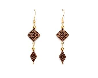 Square gold ball earrings, Beaded earrings, Wooden earrings for women, Gold drop earrings, Engraved jewelry, Oriental jewelry Modern jewelry