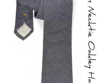 Mens Necktie Oakley Hall- Navy Blue Denim Japan Cotton tie