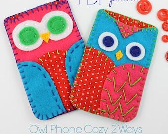 Owl Phone Cases. Digital Pattern. Sewing Pattern. Embroidery. Hand Sewing. Smart Phone. DIY Tutorial. Kids Crafts. Beginner pattern. Cute.