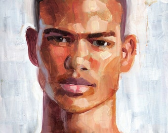 Close-Cropped, Large 23x29 Acrylic Portrait of Young Light-Skinned Black Male