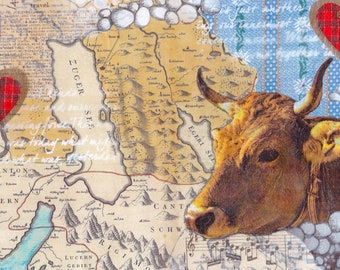 Zug Map Mixed Media - Brown Cow