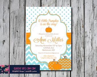 Little Pumpkin Printable Baby Shower Birthday Party Invitation Invite (shower, birthday party, party) DIY