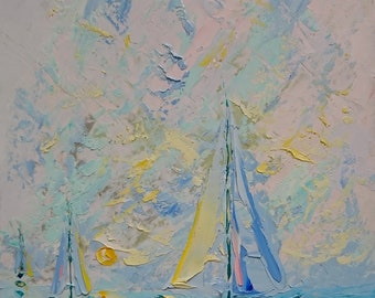 CRYSTALLINE SAILING; Original palette knife oil painting; seascape oil painting; sailing; framed