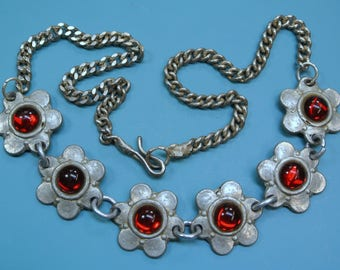 Vintage 1950s Swedish handcrafted pewter necklace with 6 red glass cabochons motive