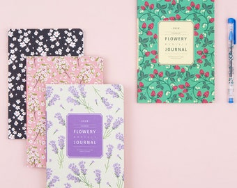 2018 Medium Monthly planner in 3 Beautiful Illustration -Flowery monthly journal