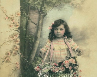 Forest Child Vintage Photo Postcard. Digital, Download, image, girl, pink, flowers, roses, instant, transfer, photo, photograph, #14/P2