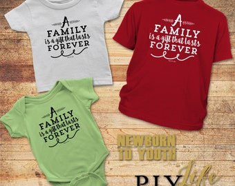 Kids   A family is a gift that lasts forever Kids Bodysuit DTG Printing on Demand
