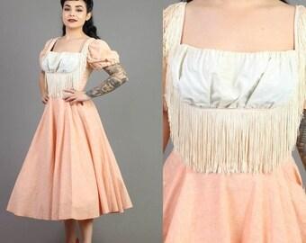 SALE SALE SALE vintage 60s Fringe tassel swing Honky Tonk western dress size medium M / rockabilly pinup party dress 1960s