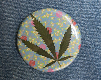 Pressed Cannabis Leaf Button - Blue With Pink & Red Flowers