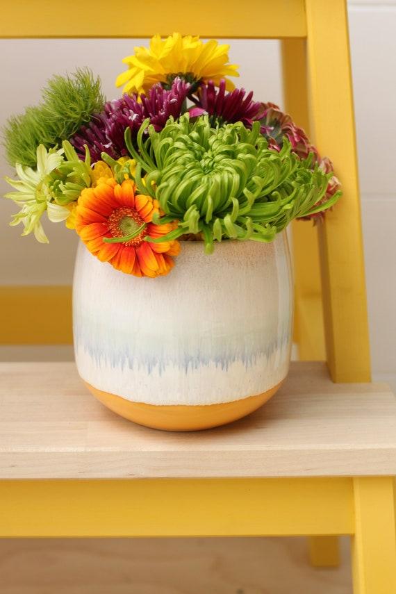orange and cream bud vase // accent vase // boho vase // small flower vase