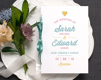 Cute Fun Wedding Program / 'Casual Script' Pocket-sized Order of Service Mass Booklet / Modern Colorful Wedding / Blue Yellow / ONE SAMPLE