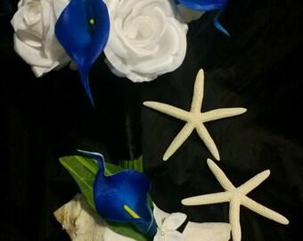 Royal Blue Calla Lily White Rose Wedding Bouquet with Boutonniere Set, Royal Blue White Bouquet Calla Lily Bouquet Blue Wedding Blue