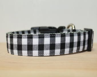 """Buffalo Plaid / Black & White Gingham /  Plaid Dog Collar /  also available in Red/Black, Charcoal, Red/White """"The White LumberJack"""""""