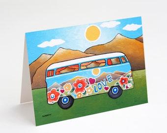 Greeting Card Retro VW Camper Volkswagen Love Bus Adventure Art from Original Painting