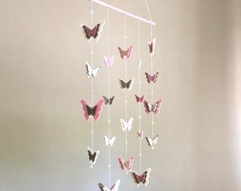 Butterflies mobile, felt butterfly, butterfly mobile, nursery decor, baby room mobile, kids decorations, summer decor