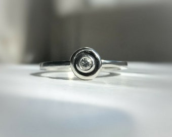 White sapphire stackable ring - Ready to ship - Sizable - Silver stack ring