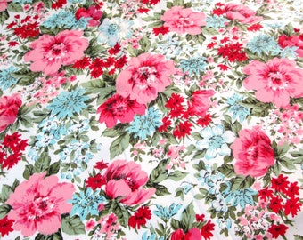 "Vintage Fabric Pink Blue Floral Cotton Upholstery Fabric Curtains Drapery 4 Yards Yds. + 32 inches 44"" inches wide"