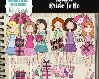 Kayla Bride To Be Clipart Collection- Immediate Download