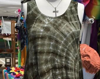 Krawatte Farbstoff Hallo-lo Muir grün Shibori Tank Kleid