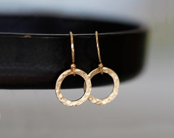 Dainty Minimalist Earrings, Tiny Circles Earrings, Gold Tiny Hammered Earrings, Gold Filled Hoop Earrings