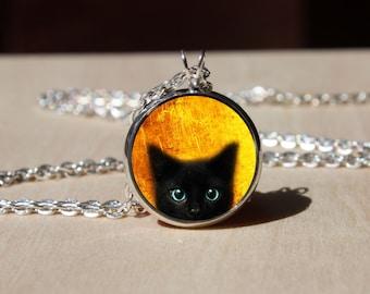 Handmade Black peeking cat Necklace, gift for Her Him, nekel free jewelry