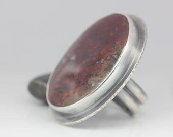 Bloody Basin Agate Ring, Red Agate & Sterling Ring, Statement Ring, Boho Ring, Le Chien Noir, Unisex, Size 8.5