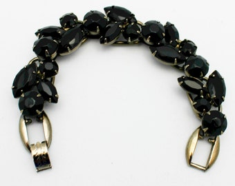 Vintage Juliana Black Glass Five Link Bracelet