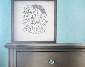 Inspirational Quote Sign Hand Lettered for Baby Nursery or Kids Rooms, Rainbows, Stars, Room Decor