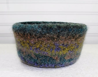 Large Multi-Colored Wool Felted Bowl, Blue, Green, Coral, Lime Wool Felt Bowl, Knit Felt Wool Bowl, Felt Wool Home Decor Bowl, Storage Bowl