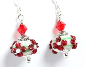 Red Flower Lampwork Earrings, Red and Green, Swarovski Crystals
