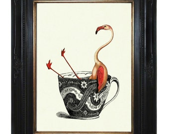 Pink Flamingo Art Print bathing in a Tea Cup Teaparty - Victorian Steampunk Art Print Kitchen Nursery Birds Animals