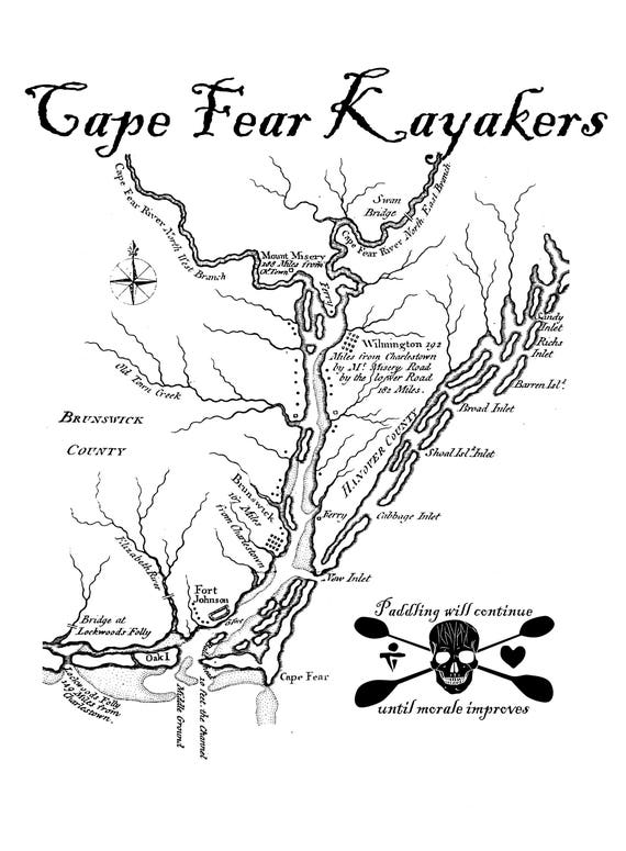 Kayak Fishing vapor t-shirt Cape Fear Kayakers UPF50, lightweight and comfortable with PURE-Tech® moisture wicking 4oz 100% Microfiber.