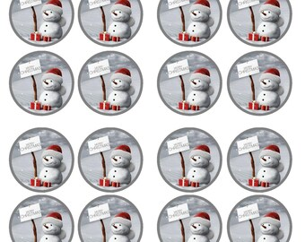 Christmas Snowman #5 Edible Wafer Rice Paper Cake Cupcake Toppers x 24 PRECUT