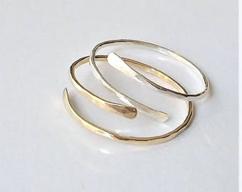 Sterling Silver or Gold Filled Stackable Ring, Dainty Adjustable Ring, Thin Gold Spiral Ring, Minimalist Ring, Textured Ring.