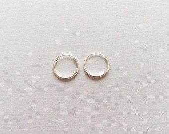 14 mm Sterling Silver Hoop Earrings - Silver Hoop Earrings - Tiny Hoop Earrings - Hoop Earrings - Small Hoop Earring -  Silver Hoop Tiny