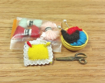 MINIATURE SEWING SUPPLIES or Notions, 1:12 Scale, Yarn, Scissors, Pin Cushion, Knitting Basket, Vintage Dollhouse Decor