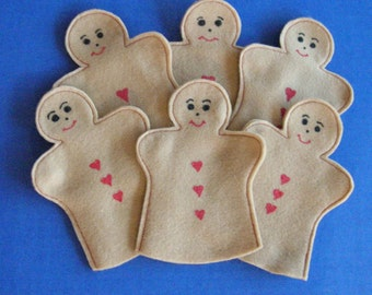 Gingerbread Party Favor Puppets / Set of 6