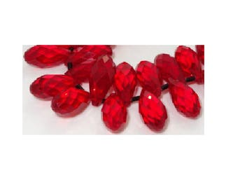 set of 2 red faceted teardrop Crystal 20 mm