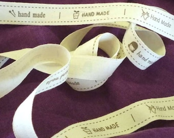 Printed Handmade Cotton Ribbon - Two Types Available - 2m long