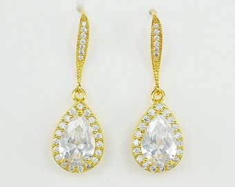 Bridal Cubic Zirconia Crystal Drop Earrings, Yellow Gold Plated, Rose Gold Plated, Silver Ear Wires, Aria - Will Ship in 1-3 Business Days