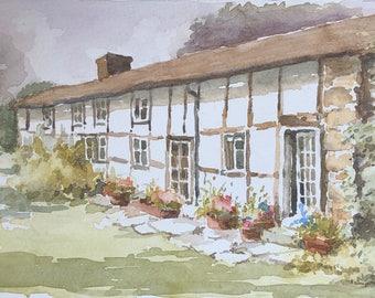 Welsh cottages original watercolour