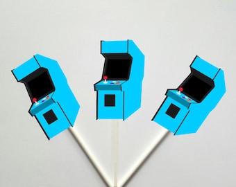 Arcade Cupcake Toppers, Arcade Game Cupcake Toppers, Video Game Cupcake Toppers - Gaming Cupcake Toppers, 80's cupcake toppers, Blue Arcade